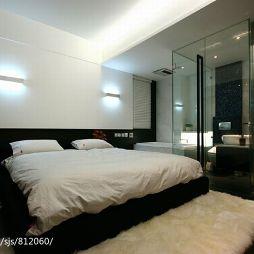 温州安澜小区住宅设计光影现代卧室玻璃隔断装修效果图