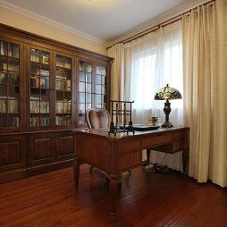 大湖城邦现代美式书房家具装修效果图