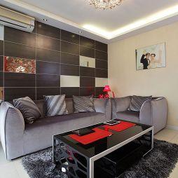 现代风格两室一厅客厅沙发背景墙装修图片