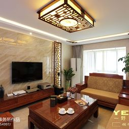 中式风格客厅电视背景墙设计图大全