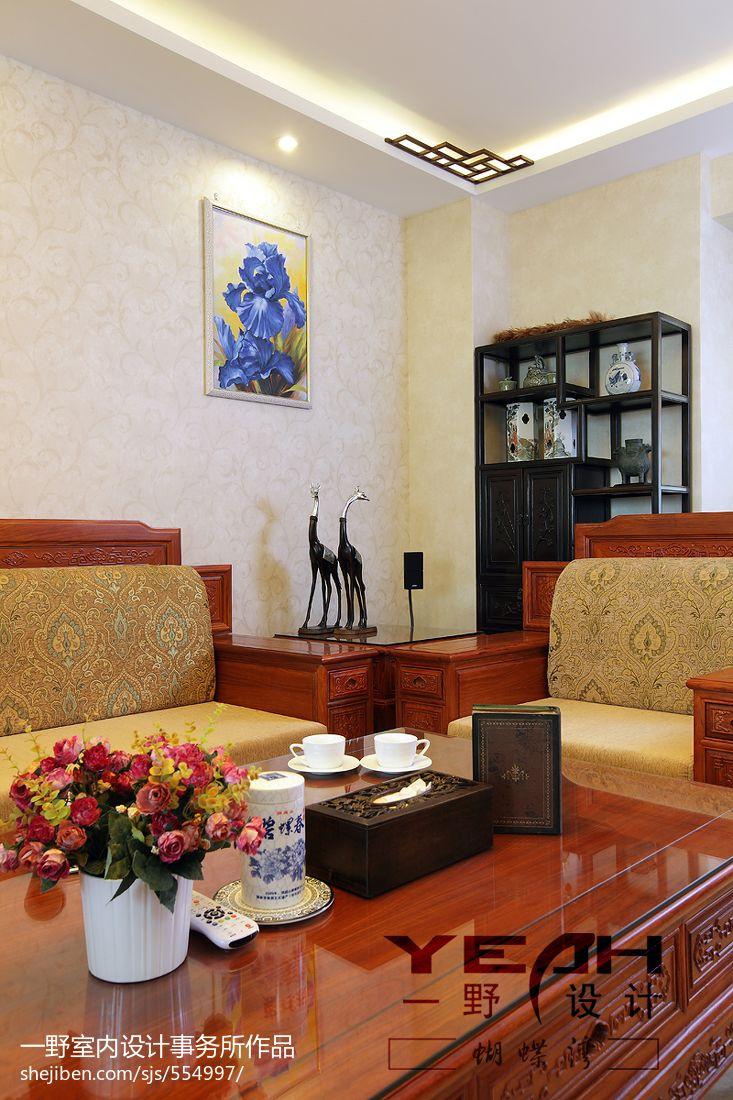 家装客厅电视背景墙_中式风格客厅背景墙设计图大全 – 设计本装修效果图