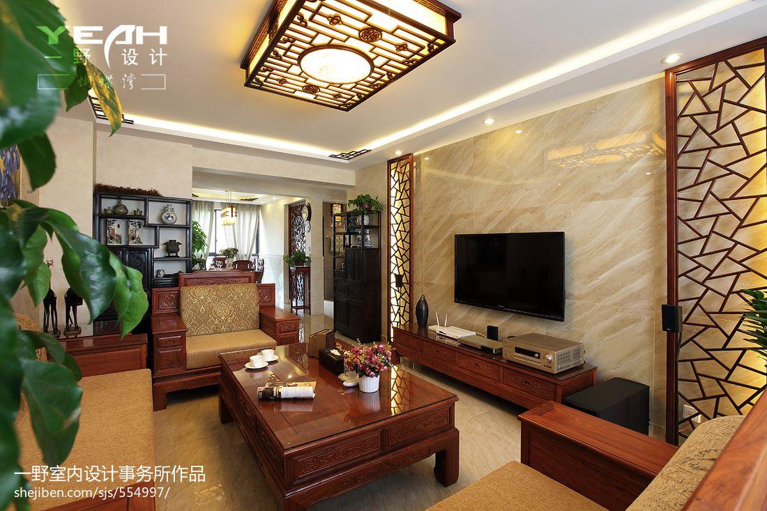 中式电视背景墙效果图_现代中式客厅微晶石电视背景墙效果图 – 设计本装修效果图