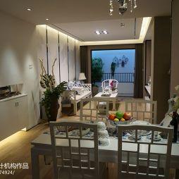 厦门联发欣悦湾高层样板房新中式客厅餐厅装修效果图