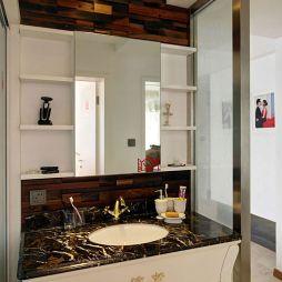 现代风格卫生间洗手台卫浴镜效果图