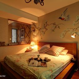 田园卧室手绘墙画装修