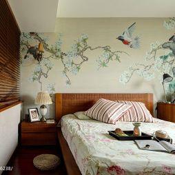 田园卧室手绘墙装修效果图