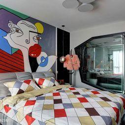 现代卧室玻璃隔断装修效果图