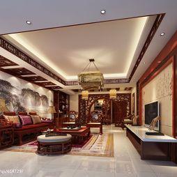 景宏花园别墅中式沙发壁画背景墙装修效果图