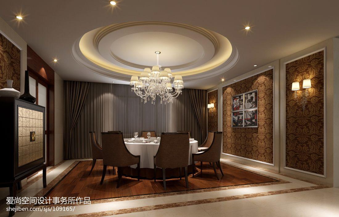中式风格餐厅背景墙_住宅现代餐厅吊顶吊灯背景墙全景装修效果图 – 设计本装修效果图