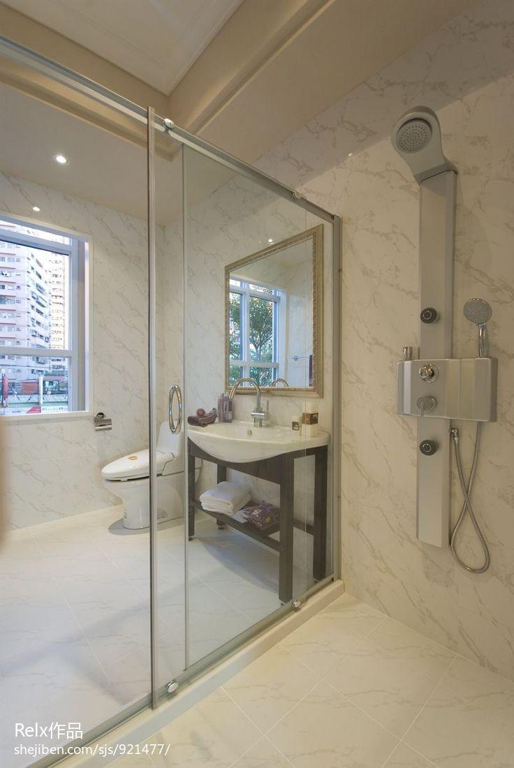 小户型卫生间_欧式小户型卫生间玻璃隔断墙效果图 – 设计本装修效果图