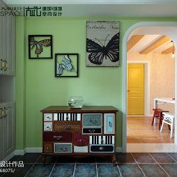 混搭书房挂画绿色背景墙装修效果图