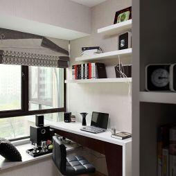 现代简约书房书柜装修效果图