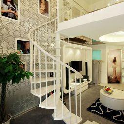 现代复式过道楼梯扶手装修效果图