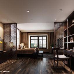 中式卧室镂空雕花隔断装修效果图