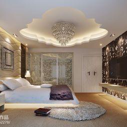 景瑞别墅现代奢华大气主卧吊顶水晶吊灯装修效果图