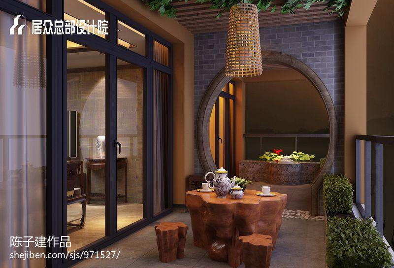 阳台茶室装修效果图_中式风格阳台茶室 装修效果图片 – 设计本装修效果图