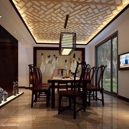 中式餐厅吊顶吊灯装修设计效果图