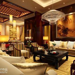 梧桐墅中式客厅沙发背景墙效果图