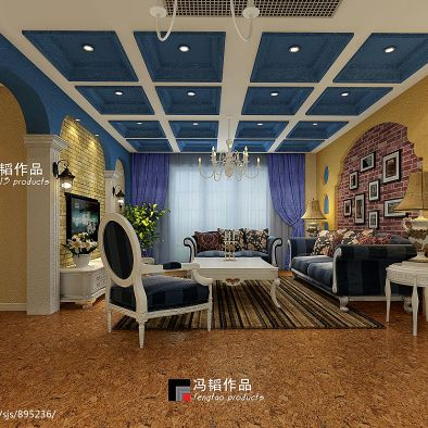 大面积蓝色吊顶为装点家居空间缔造浪漫的地中海风情