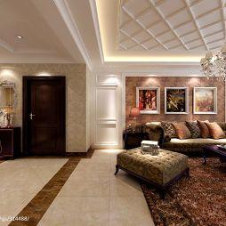 欧式客厅沙发背景墙效果图片