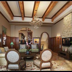 温馨别墅欧式客厅吊顶装修效果图