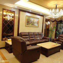 简欧风欧式客厅沙发背景效果图