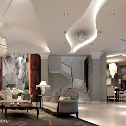 欧式风格别墅设计客厅吊顶装修图片