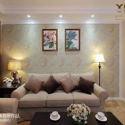 南环新村休闲美式客厅沙发背景效果图