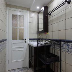 休闲美式卫生间洗手台铁艺置物架装修效果图
