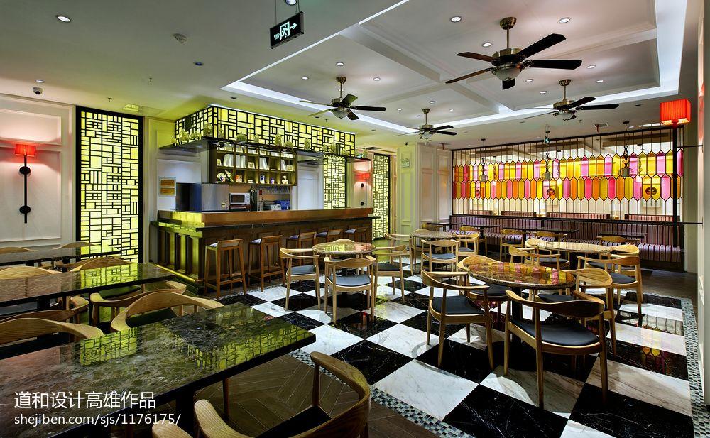 港式餐厅装修效果图_中式风格茶餐厅大堂吊顶装修效果图 – 设计本装修效果图