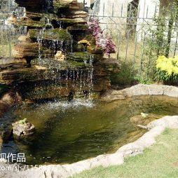 田园风假山鱼池图片