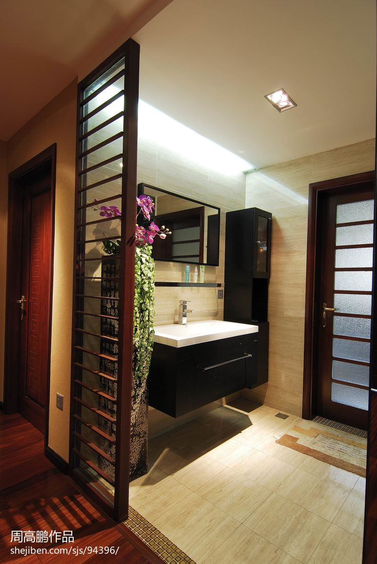 卫生间隔断效果图_中式《禅》_卫生间玄关装修设计效果图 – 设计本装修效果图