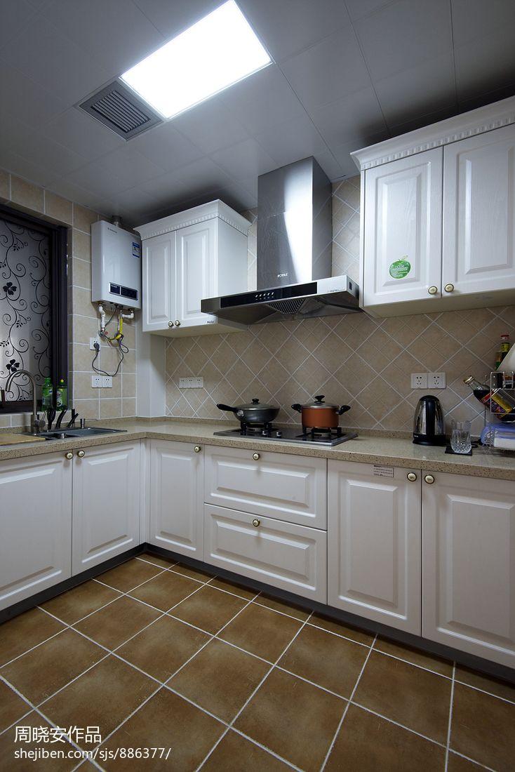 家装欧式风格效果图_现代美式 小清新家庭厨房装修效果图 – 设计本装修效果图