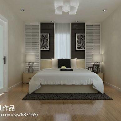 怡祥花园_现代卧室床头背景墙装修设计效果图