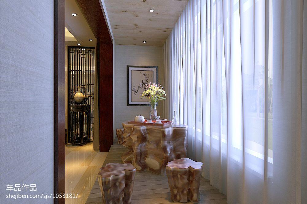 阳台茶室装修效果图_奥龙官邸新中式阳台茶室装修效果图 – 设计本装修效果图