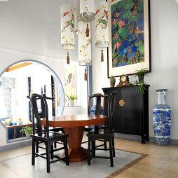 中式挑高餐厅吊顶吊灯装修效果图片