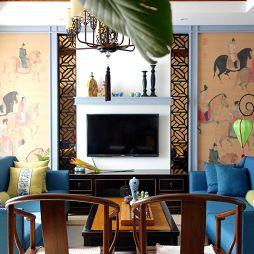 中式客厅电视墙装修效果图