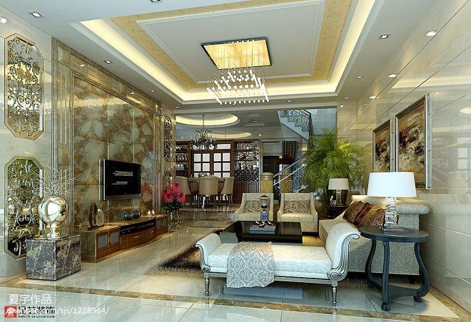 欧式风格时代城梁生别墅客厅装修效果图
