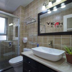 简约美式卫生间洗手台镜前灯装修效果图