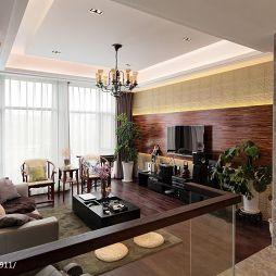 新中式错层客厅木饰面电视背景墙装修效果图