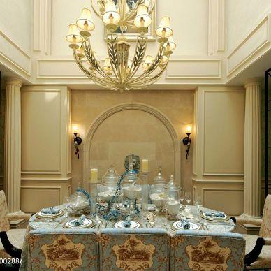 雅戈尔璞墅欧式餐厅装修设计效果图