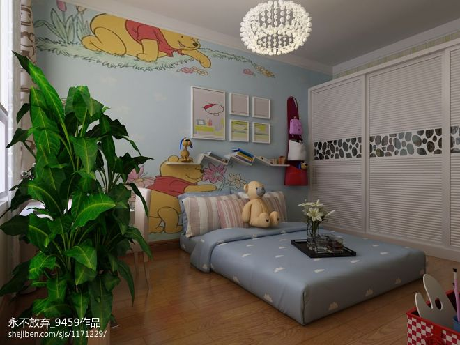 牡丹华庭样板间现代儿童房手绘墙装修设