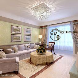 众美凤凰城客厅沙发背景墙装饰画水晶吸顶灯装修效果图