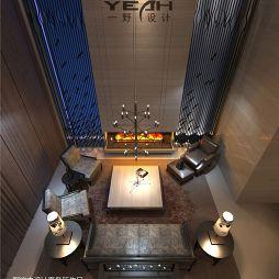 中式风格别墅挑空客厅背景墙装修