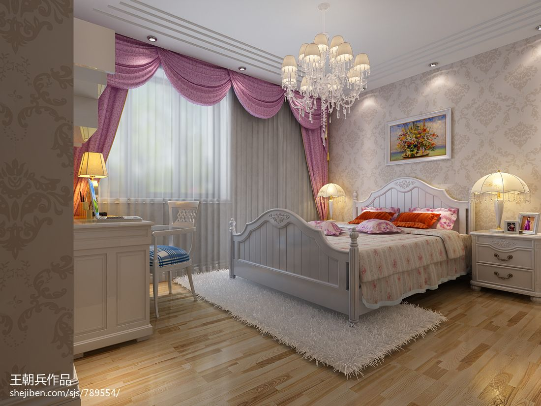 公主卧室装修效果图_中式风格公主房窗帘装修设计效果图 – 设计本装修效果图