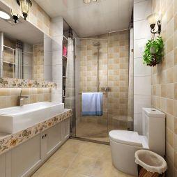 185平米田园风格卫浴瓷砖淋浴房装修设计效果图