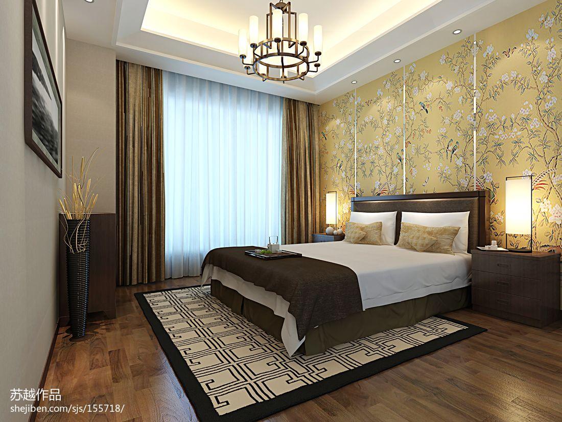 主卧背景墙纸效果图_中式卧室壁纸装修设计效果图 – 设计本装修效果图