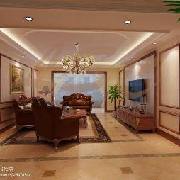 简约欧式敞亮客厅装修效果图