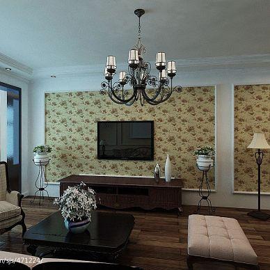 天邑蓝湾 美式客厅电视背景墙装修效果图