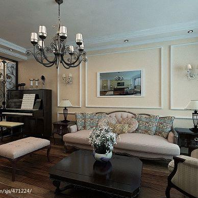 天邑蓝湾 美式客厅背景墙装修效果图